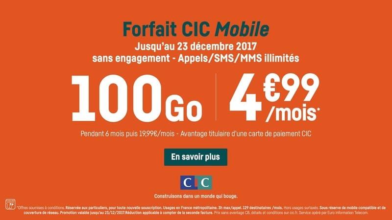 Forfait Mobile Cic 100go