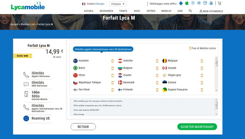 Forfait Lycamobile